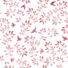 Pink leaves, cute birds. Watercolor seamless pattern in naive design