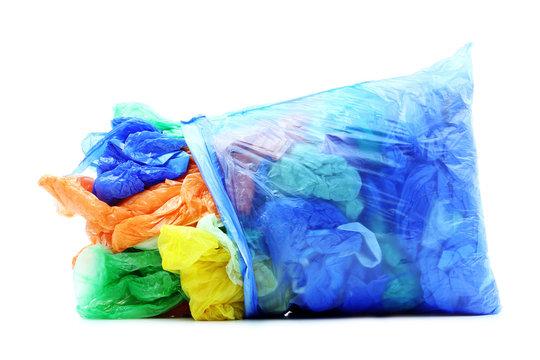 Garbage plastic bags on white