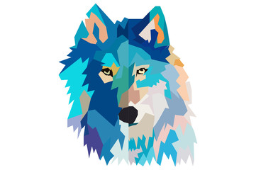 head of a wolf.  low poly. black background