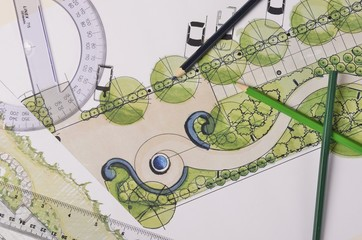 Garden drawings on white paper