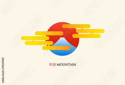 Japan Fuji Mountain Abstract Logo Vector Illustration
