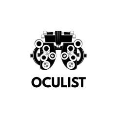 Optical medical device. Optometry eyesight measurement device. Vector illustration.