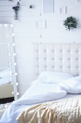 light retro bed with mirror