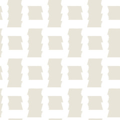 Abstract geometric plaid seamless vector pattern of bold lines with jagged edge on beige background