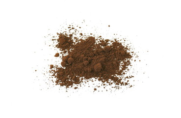 Coffee powder isolated of white background.