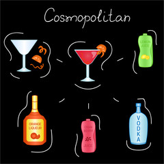 Cosmopolitan Cocktail ingredients isolated vector colorful illustration