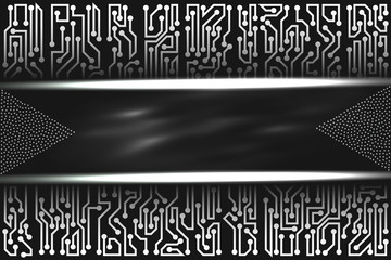 Futuristic technological layout with circuit board elements of black, gray, and white shades