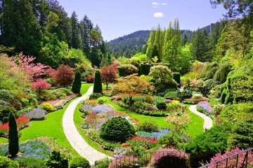 Foto auf Acrylglas Garten Butchart Gardens, Victoria, Canada. View over the colorful flowers of the sunken garden at springtime.