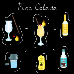Pina Colada Cocktail ingredients isolated vector colorful illustration