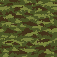 Seamless pattern of fishing camouflage. Camo of fish