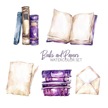 Watercolor borders set with old books, envelope and paper sheets. Original hand drawn illustration in violet shades. School design. ClipArt elements. Scrapbooking collection.