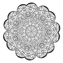 Adult coloring book illustrationLacy Mandala pattern with calligraphic swirls and intricate tangled lacy ornament.