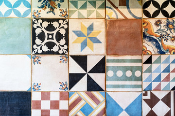 Wall with a lot of different vintage tiles, Spain