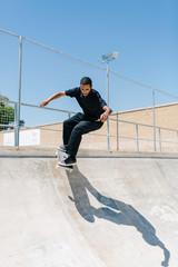 Extreme man riding skateboard