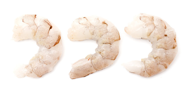 Raw Jumbo Shrimp on a White Background