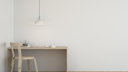 Work space interior background in hotel - 3d rendering minimal japanese