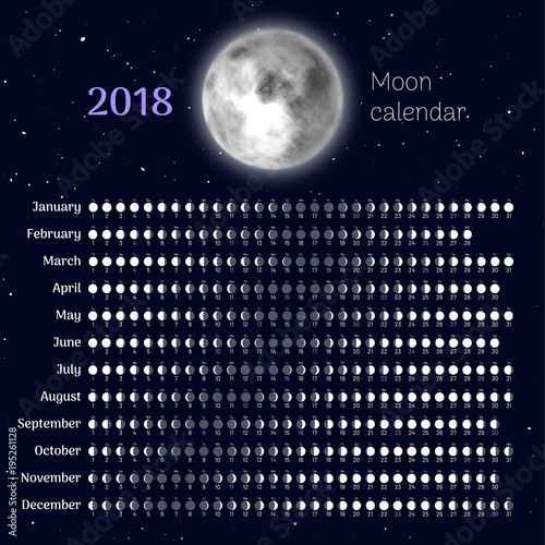 Moon calendar 2018 with all months  Planner with lunar