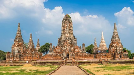 Wall Mural - Time lapse of Ayutthaya Historical Park, Wat Chaiwatthanaram Buddhist temple in Thailand.