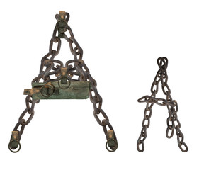 letter A from rusty old chains and rotten wooden leash, isolate on white background