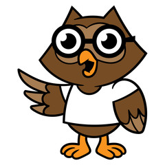 Cartoon Owl Wearing a T-Shirt