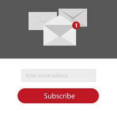 Light Subscribe to newsletter form in red,grey and whitte colors - Email vector