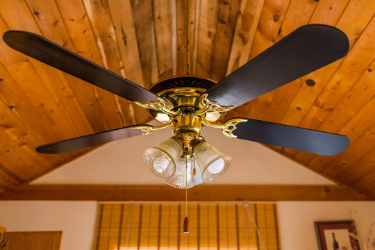 Vintage ceiling wooden fan with lamp