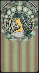 Winter banner with girl in art nouveau style, vector illustration