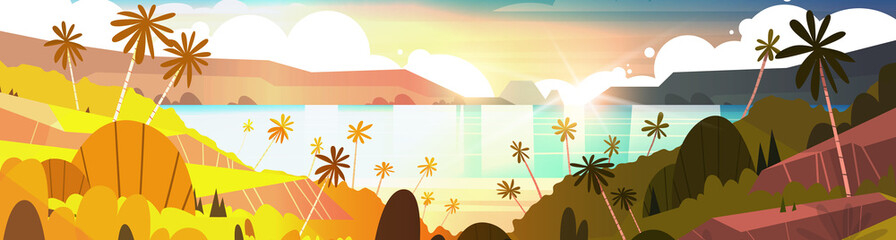 Sunset On Tropical Beach Beautiful Landscape Summer Seaside With Palm Trees Horizontal Banner Flat Vector Illustration