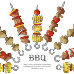 Background of different shish kebabs.
