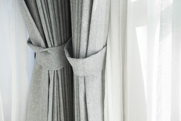 Close up of a modern curtain inside home