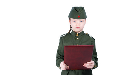 girl in uniform look forward, on a white background, reading the oath, there is a place for the inscription with the right
