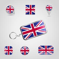 British flag design icon set vectro