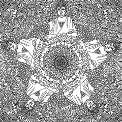 Abstract mandala ornament. Asian seamless pattern. Black and white authentic background with Buddha. Vector illustration.