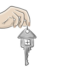 Hand with key from house, sketch for your design
