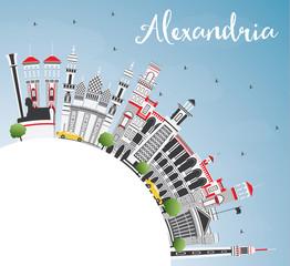 Alexandria Egypt City Skyline with Gray Buildings, Blue Sky and Copy Space.