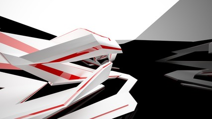 Abstract white, black and red interior with window. 3D illustration and rendering.