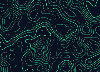 dark background with green topographic contour map Wall mural