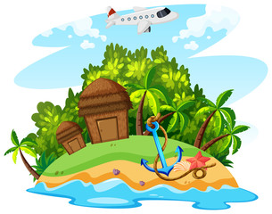 Summer theme with airplane and island