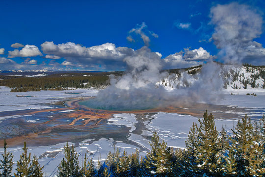 Wide view of Grand Prismatic Hot Spring