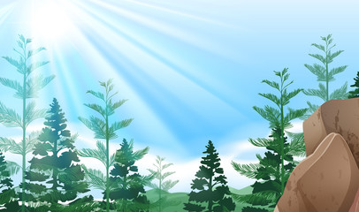 Background scene with trees on mountain