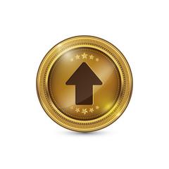 Up Key Circular Vector Gold Web Icon