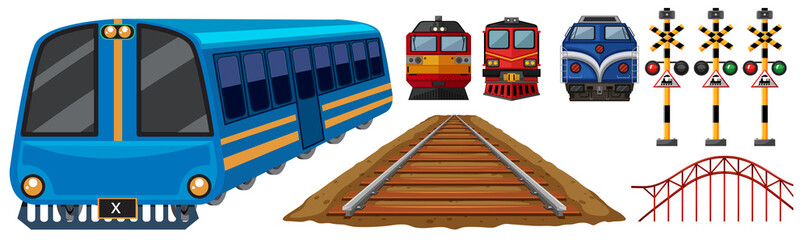 Railroad and different designs of trains