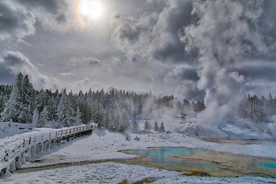 Norris Geyser Basin Walking Platform with Snow, Hot Springs