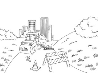 Road construction graphic black white city landscape sketch illustration vector