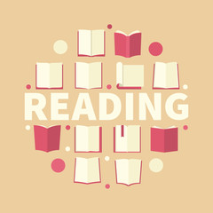Reading round vector illustration made with red book icons