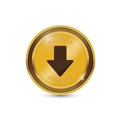 Down Key Circular Vector Gold Web Icon