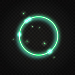 Neon green round frame with space for text
