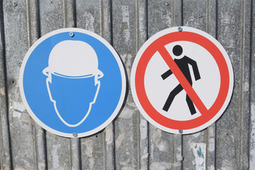 Safety Signage at construction site. Close up.