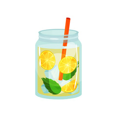 Glass jars of sweet detox cocktail. Delicious refreshing drink with lemons slices, green mint leaves, ice cubes and red straw. Flat vector design for menu or promo poster