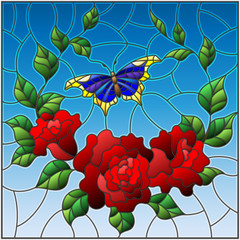 Illustration in stained glass style with red flowers and leaves of  rose, and blue butterfly ,square picture